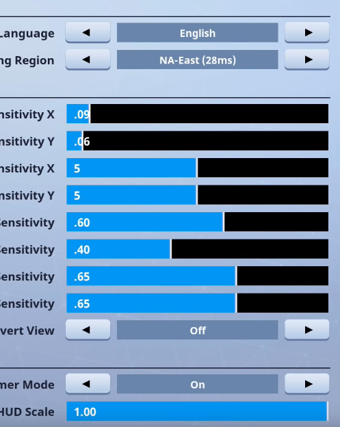 Ninja Fortnite Settings